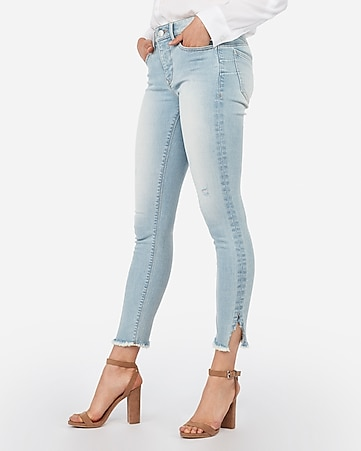 mid rise light wash denim perfect lift ankle leggings