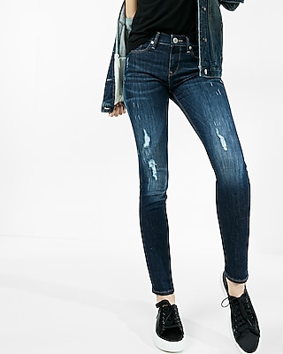 Express Womens Mid Rise Distressed Stretch Super Skinny Jeans