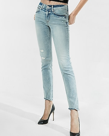 mid rise destroyed stretch+ performance skinny jean