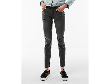 mid rise super skinny stretch ankle jeans