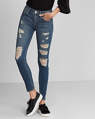Mid Rise Ripped Stretch  Performance Super Skinny Jeans | Express