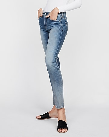 mid rise light wash stretch skinny jeans