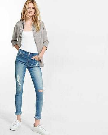 mid rise distressed stretch+ performance cropped jean legging