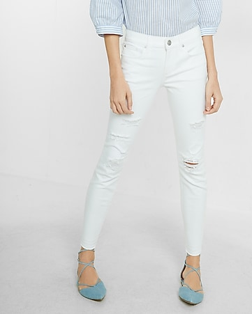 mid rise distressed stretch cropped jean legging