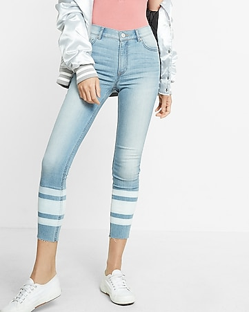 high waisted striped hem stretch cropped jean legging