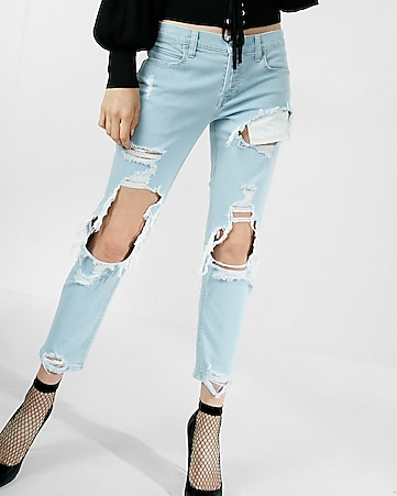 mid rise destroyed original cropped girlfriend jeans