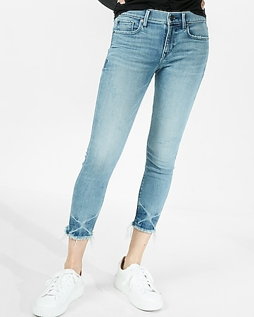 mid rise frayed cropped jean leggings