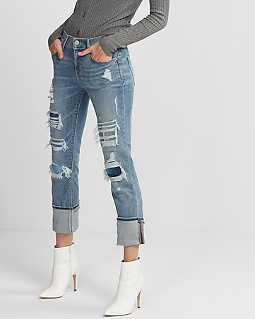mid rise distressed stretch+ performance cropped skinny jeans