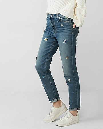high waisted gem girlfriend jeans
