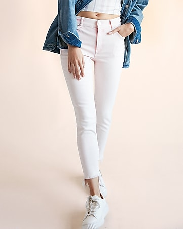 high waisted frayed stretch cropped jean leggings