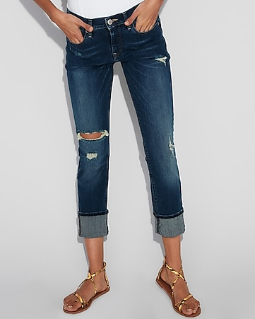 mid rise cuffed cropped stretch skinny jeans