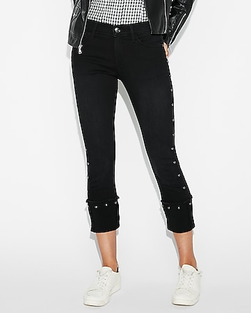 mid rise black studded cropped skinny jeans