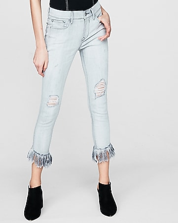 mid rise gray ripped cropped jean leggings