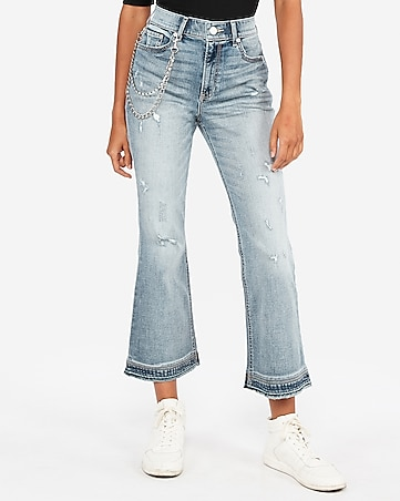high waisted original vintage cropped flare jeans