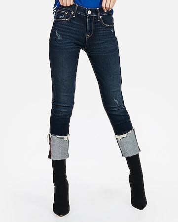 mid rise ripped cuffed cropped skinny jeans