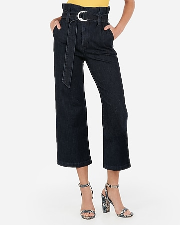 super high waisted belted cropped wide leg jeans
