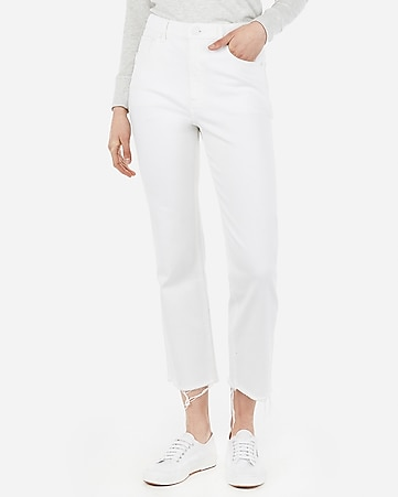 high waisted white straight cropped jeans