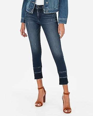 10f91001ea9 mid rise denim perfect slit raw hem cropped jean leggings