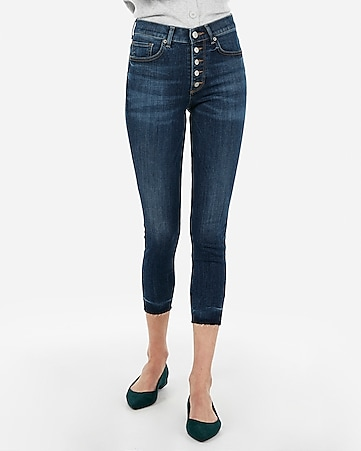 high waisted button fly cropped jean leggings