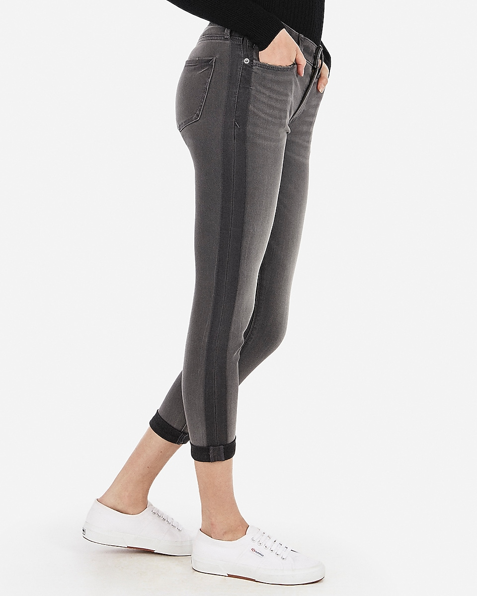 Petite mid rise black cropped double roll jean leggings