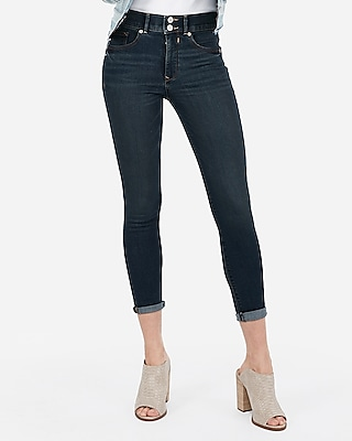 Petite high waisted denim perfect cropped leggings