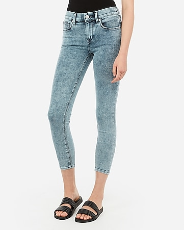 mid rise acid wash cropped jean leggings