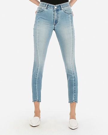 high waisted eco-friendly cropped tulip hem jean leggings