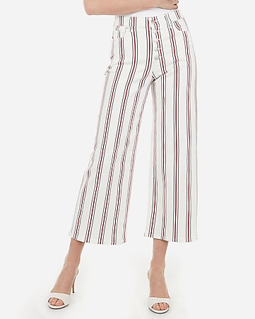 high waisted striped button fly cropped wide leg jeans