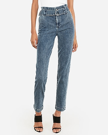 high waisted belted ruffle denim trouser