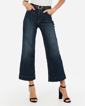 high waisted cropped dark wash wide leg jeans