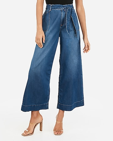 high waisted belted cropped wide leg jeans