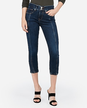 mid rise dark wash denim perfect cropped leggings