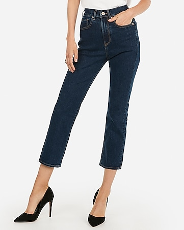 super high waisted dark wash straight cropped jeans