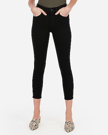 high waisted black cropped jean leggings