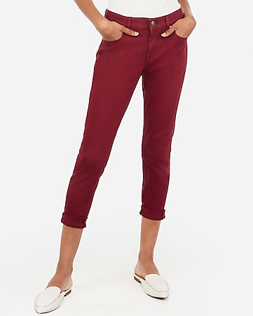 mid rise burgundy cropped double roll leggings