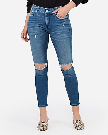 mid rise medium wash ripped cropped jean leggings
