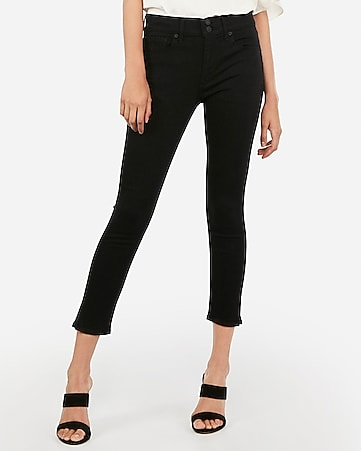 mid rise black cropped jean leggings
