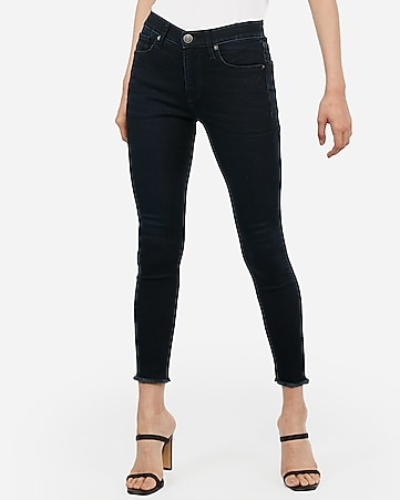 high waisted supersoft dark wash frayed hem cropped leggings