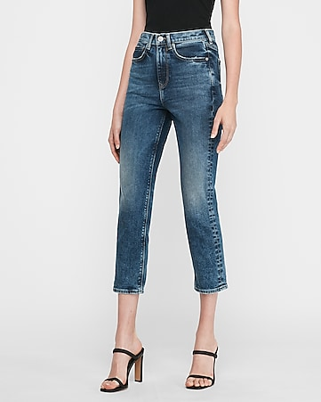 super high waisted original dark wash mom jeans