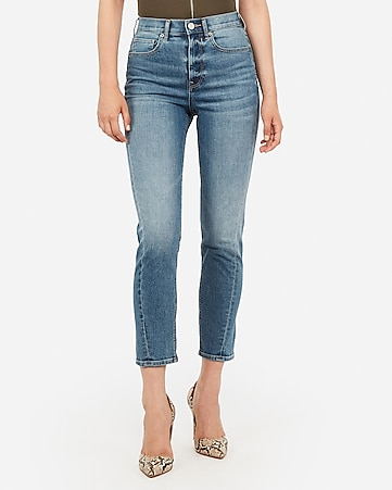 super high waisted original medium wash mom jeans