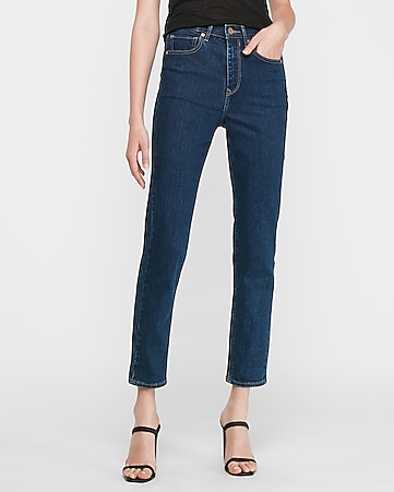super high waisted dark wash mom jeans
