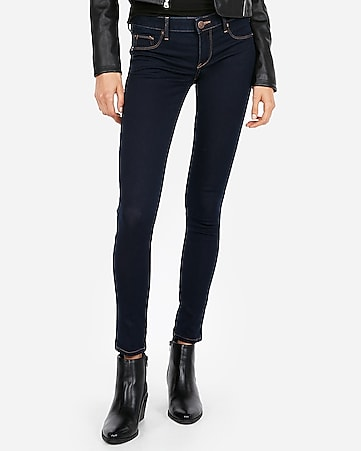 low rise contrast stitch jean leggings