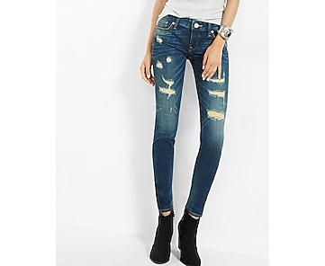 low rise distressed stretch skinny jeans