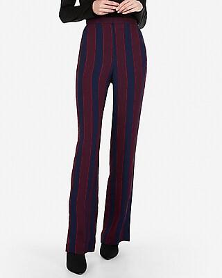 petite super high waisted stripe wide leg dress pant
