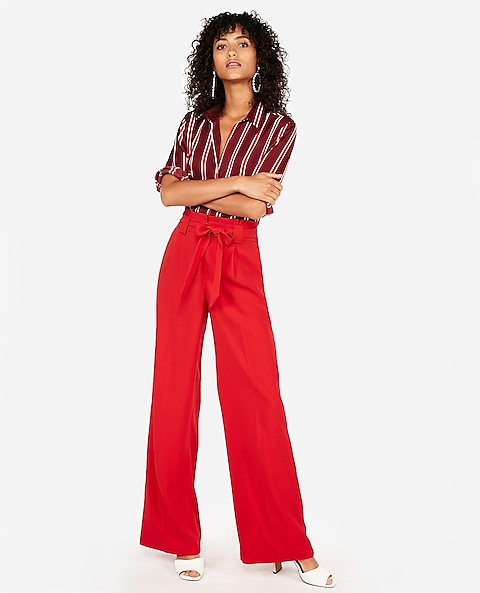 38ff3d1971d0 High Waisted Sash Tie Wide Leg Pant | Express