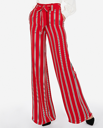2b5d4230a87c high waisted satin striped sash tie wide leg pant