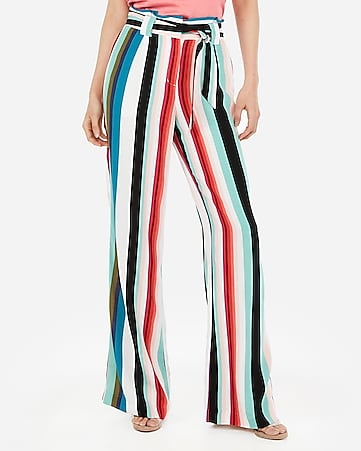 1998485744c9 high waisted multi stripe sash tie wide leg pant