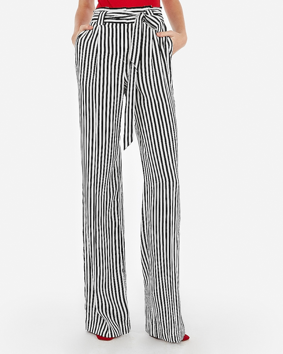 79188b2dc6d2 petite high waisted striped sash tie wide leg pant by Express
