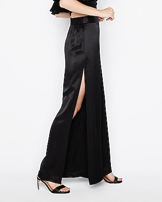 petite high waisted side slit wide leg pant