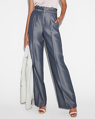 petite high waisted belted tie waist wide leg dress pant